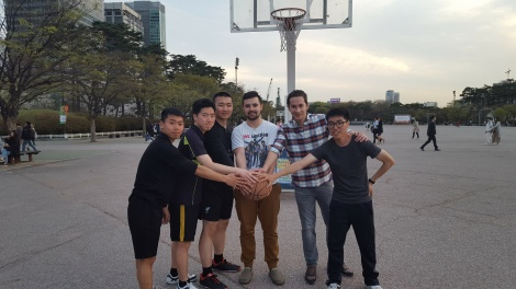 Met up with a friend studying abroad in Seoul. Challenged some locals to a game of b-ball. We lost.
